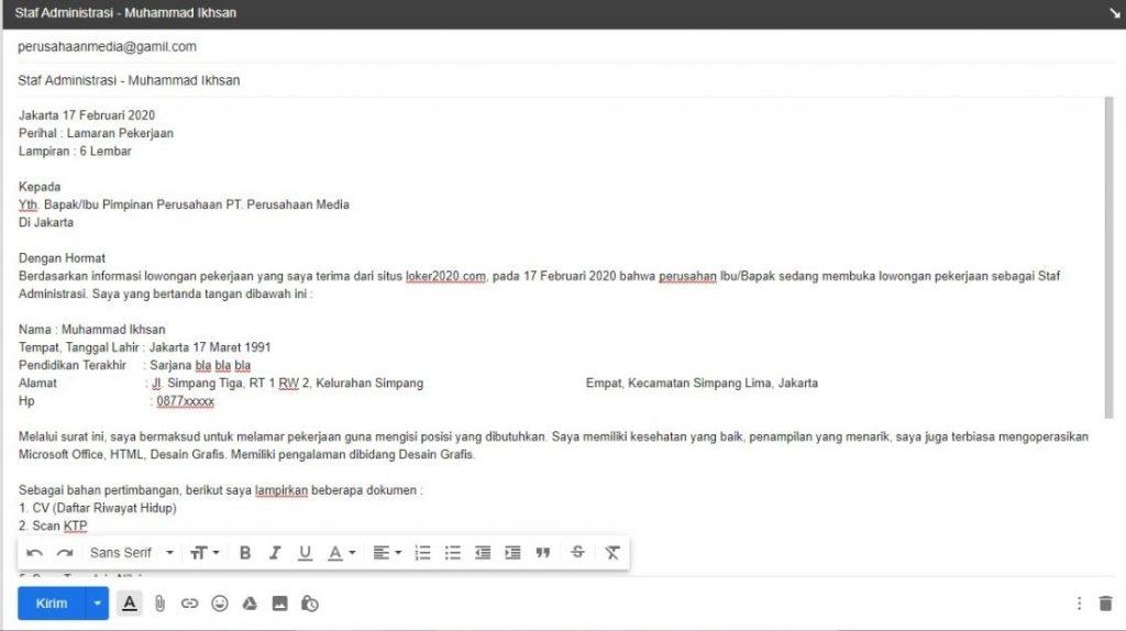 Contoh melamar kerja lewat email